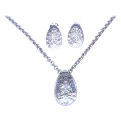 Cartier Diamonds Rock Crystal Set Necklace Earrings Signed Stamped 18K, 1995