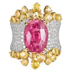 Oval Pink Tourmaline Yellow Sapphire Diamond Cocktail Ring in 18K White Gold