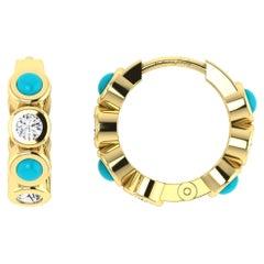 Diamond & Turquoise Huggies in 18 Karat Yellow Gold