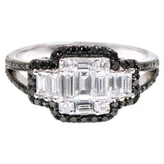 18 Karat White Gold 1.25 Carat White and Black Diamond Invisible Setting Ring