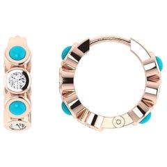 Diamond & Turquoise Huggies in 18 Karat Rose Gold