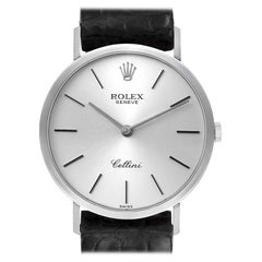 Rolex Cellini Classic 18k White Gold Silver Dial Mens Watch 4112 Papers