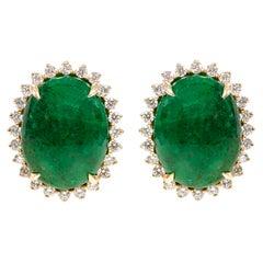 18 Karat Yellow Gold 6.62 Carat Natural Emerald and Diamond Stud Earrings