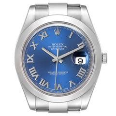 Rolex Datejust II Blue Roman Dial Steel Mens Watch 116300