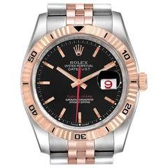 Rolex Turnograph Datejust Steel Rose Gold Black Dial Mens Watch 116261