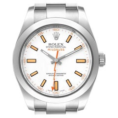Rolex Milgauss White Dial Stainless Steel Mens Watch 116400V