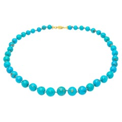 Natural Turquoise Beads Necklace 18K Gold Clasp
