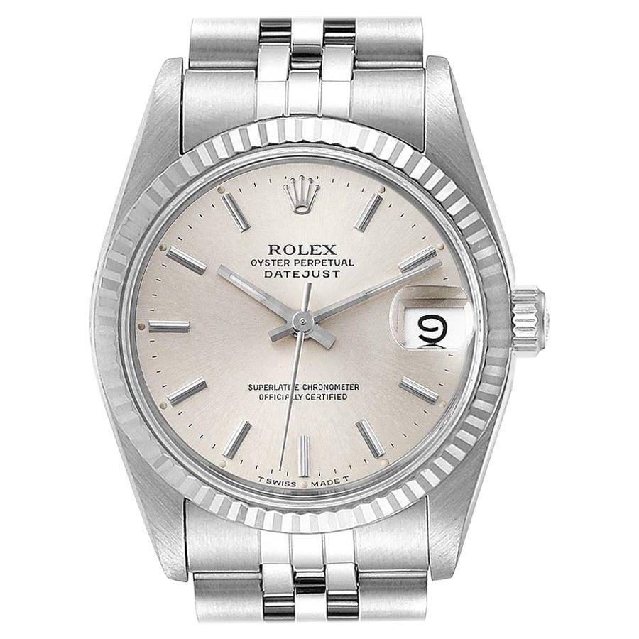 Rolex Datejust Midsize 31 Steel White Gold Silver Dial Ladies Watch 68274