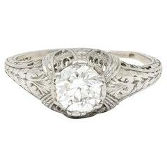 Edwardian 0.95 Carat Diamond Platinum Laurel Foliate Engagement Ring