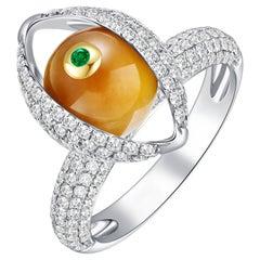 Eye Cocktail Ring 18 Karat White Gold, Pave Diamond, Tiger's Eye, Emerald