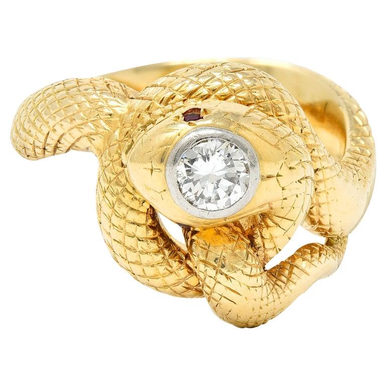 Larter & Sons Diamond Ruby 14 Karat Two-Tone Gold Snake Ring For Sale