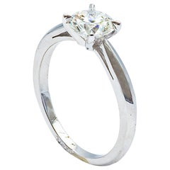 Engagement Ring in 18K White Gold with a 0.5 Carat Diamond