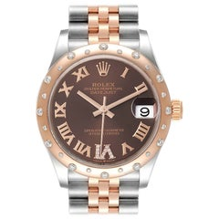 Rolex Datejust 31 Midsize Steel Rose Gold Diamond Ladies Watch 278341 Unworn
