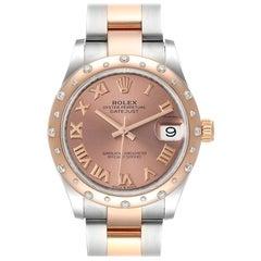 Rolex Datejust 31 Midsize Steel Rose Gold Diamond Watch 278341 Unworn