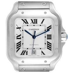 Cartier Santos Silver Dial Large Steel Mens Watch WSSA0018 Unworn