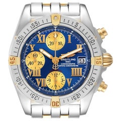 Breitling Cockpit Steel Yellow Gold Blue Dial Mens Watch B13358 Box Papers