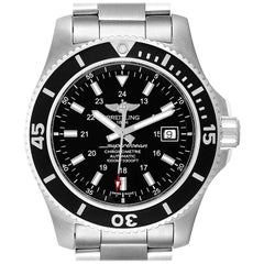 Breitling Superocean II 44 Black Dial Steel Mens Watch A17392 Box Papers
