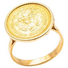 Ring Coins 2 Pesos 24 Carat Yellow Gold Estados Unidos Mexicana