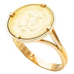 Ring Coins 2 Pesos Yellow Gold 24 Carats Estados Unidos Mexicana