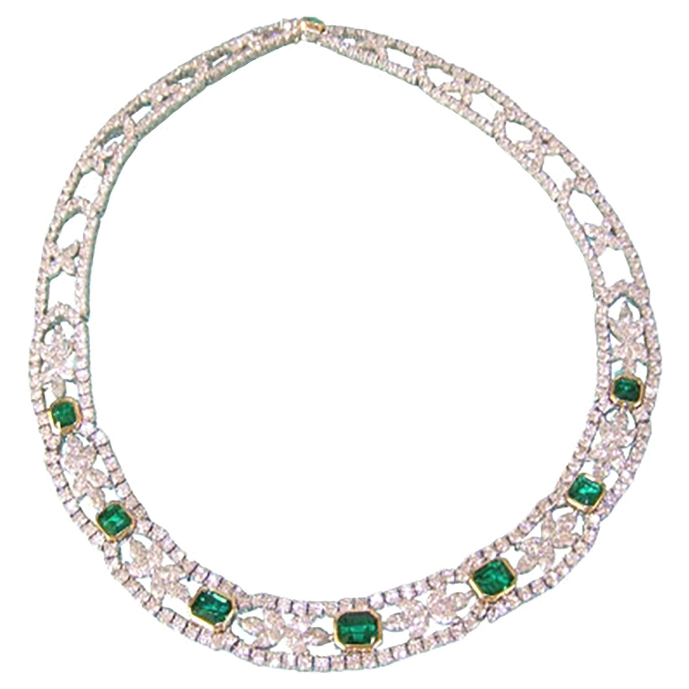 Tiffany & Co Platinum and 18k Yellow Gold Emerald Diamond Necklace