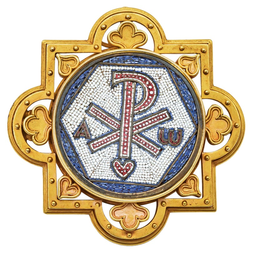 Antique Religious Brooch Micro Mosaic 18K Yellow Gold