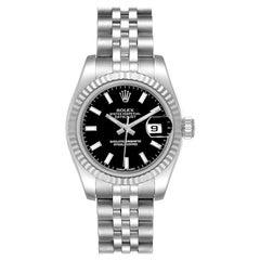 Rolex Datejust Steel White Gold Black Dial Ladies Watch 179174