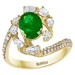 Effy 14 Karat Yellow Gold Emerald and Diamond Ring
