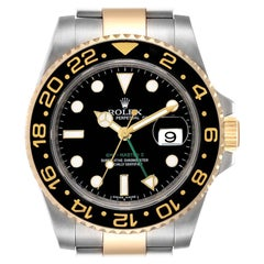 Rolex GMT Master II Yellow Gold Steel Mens Watch 116713 Box Card