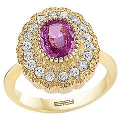 Effy 14 Karat Yellow Gold Diamond & Pink Sapphire Ring