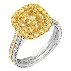 Fancy Light Yellow Diamond Ring 2.40 Carat GIA Certified