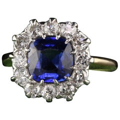Antique Victorian 18K Yellow Gold Diamond and Sapphire Engagement Ring