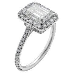GIA Certified 1.80 Carat I VVS1 Emerald Cut Diamond Engagement Ring