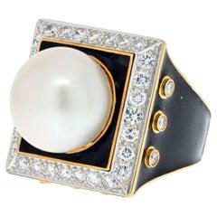 David Webb Platinum & 18K Yellow Gold Black Enamel, Pearl and Diamond Ring