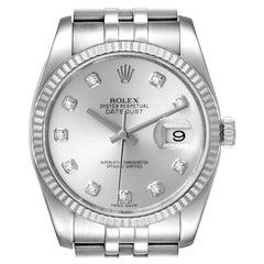 Rolex Datejust Steel White Gold Diamond Dial Mens Watch 116234