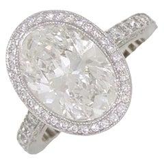 Tiffany & Co Platinum Oval Diamond and Round Brilliant Cut Diamond Ring 4.85tcw