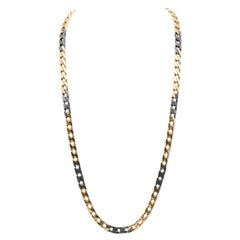 Bvlgari Yellow and Blackened Gold Cuban Links Chain Necklace