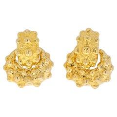 David Webb 18K Yellow Gold High Polish Bubble Doorknocker Earrings