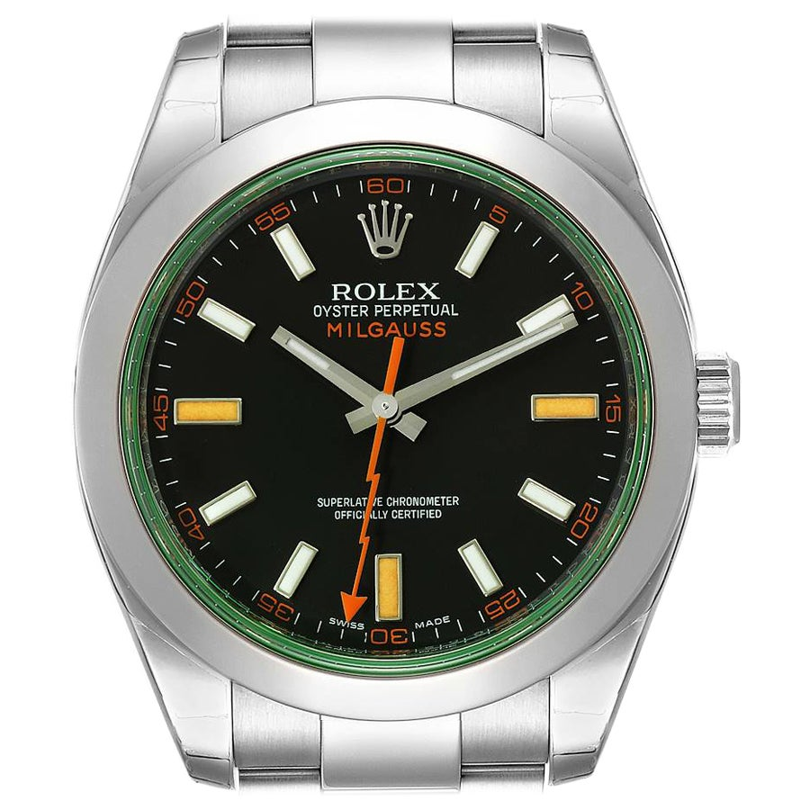 Rolex Milgauss Black Dial Green Crystal Steel Mens Watch 116400V Unworn