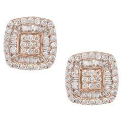 1.06 Carat Invisible Set Diamond Pave Stud Earrings 14 Karat in Stock