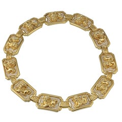 Kieselstein Cord 18K Yellow Gold Foo Dog Diamond Collar Necklace