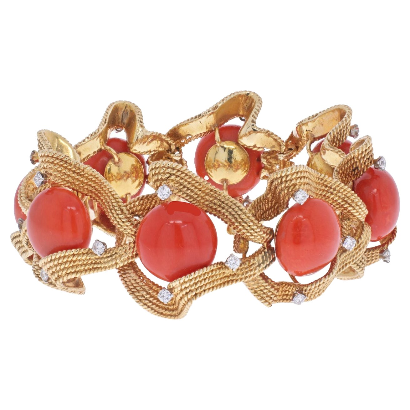 David Webb 18K Yellow Gold Coral and Diamond 1960's Bracelet