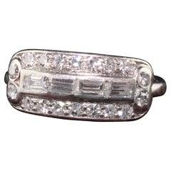 Antique Art Deco Platinum Baguette and Single Cut Diamond Wedding Band