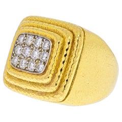 David Webb Platinum & 18K Yellow Gold Pave Diamond Hammered Tiered Ring