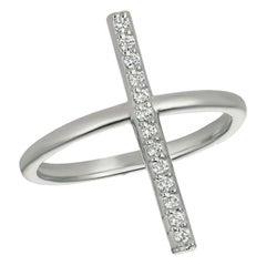0.15 Carat Natural Diamond Bar Ring G SI 14K White Gold