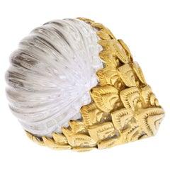 David Webb 18K Yellow Gold Carved Rock Crystal Ring