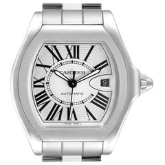 Cartier Roadster Silver Dial Steel Mens Watch W6206017 Box Papers
