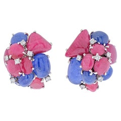Seaman Schepps 14K White Gold Cluster Sapphire and Ruby Earrings