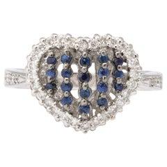 Blue Sapphire and Diamond Heart Ring