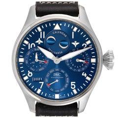 IWC Pilot Perpetual Calendar Blue Dial Steel Mens Watch IW503605 Box Card