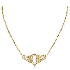 David Webb 18K Yellow Gold Flight Diamond Pendant 1.50cts Necklace